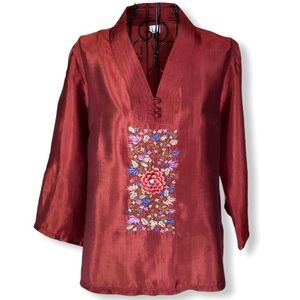 Vintage 100% Silk Embroidered Blouse Size XL EUC